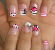 nail art para amor y amistad Love Nails, Pink Nails, Pretty Nails, Nagellack Design, Nail Art Designs Videos, Girls Nails, Cute Nail Art, Nagel Gel, Stylish Nails