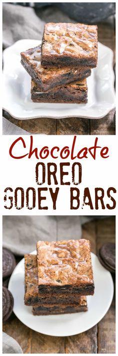 Chocolate Oreo Gooey Bars | The classic gooey bars with a chocolate and Oreo twist! @lizzydo