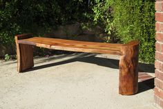 Log Bench Reclaimed Wood Natural Edge by WoodwavesInc on Etsy. Thousand bucks, whoa mamma. Rustic Log Furniture, Live Edge Furniture, Modern Outdoor Furniture, Garden Furniture, Wood Furniture, Furniture Makeover, Antique Furniture, Raw Wood, Wood Slab