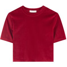 Cropped Velvet T-Shirt (170 BRL) ❤ liked on Polyvore featuring tops, t-shirts, sexy t shirts, holiday tees, slim fit tees, short sleeve tee and holiday t shirts