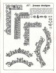 Borders comes from a quilling pattern page,  but so applicable to Zentangle. More ideas at the link.