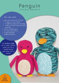Haakpatroon voor een lieve pinguïn het perfecte handgemaakte   Etsy Main Colors, Different Colors, Crochet Animals, Crochet Hats, Handmade Baby Gifts, Penguins, Crochet Patterns, Great Gifts, Stitch
