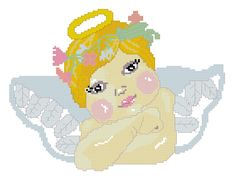Angel cross stitch pattern on www.recipeandstitch.com #angel #cross stitch #pattern #christmas
