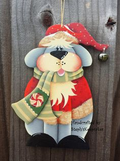 Wooden Hand painted Dog Christmas  Ornament. dog lovers, christmas woodcrafts, tree decoration