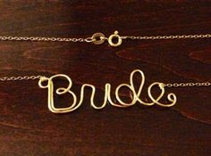 Dainty Bride Necklace for Bride-to-Be Bridal or Wedding Gift. 14k Gold, 14k Rose-Gold, or Sterling Silver on Etsy, $29.00
