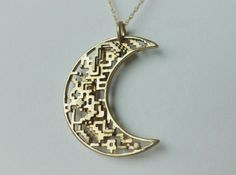 Moon #Pendant. | #3DPrinted #3DPrinting #Jewelry #Accessories #Customized