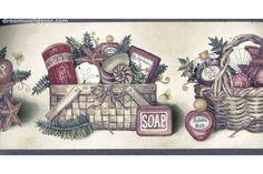 Purple Cream Bath Baskets Wallpaper Border
