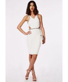 Jessie Crepe Chain Trim Midi Dress White - Dresses - Midi Dresses - Missguided