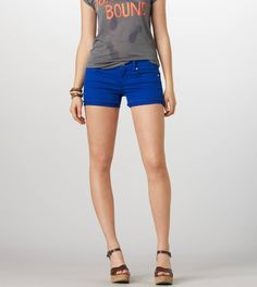 Love the wedges with this.  Young with the short shorts but grown with the wedges.  Perfect for a teen.