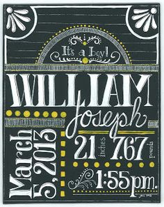 "Birth announcement created for a friend's new grandbaby. Acrylic paint on masonite board. Hand lettered (no stencil used) in a style similar to ""chalkboard"" art. Dark grey background, white letters, yellow accents."