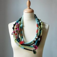 Textile necklace nO.397 by kjoo on Etsy