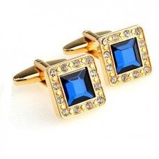 Square Set Cufflinks with Blue Crystal