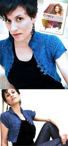 improvised knitted lace - a 'recipe' for a cropped top