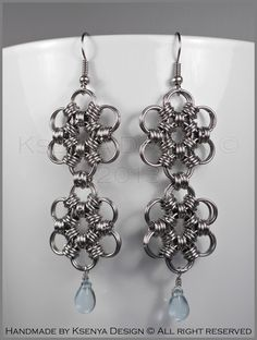Eleanor - unique chainmaille earrings. #jewelry #ksenyajewelry #earrings #chainmaille #wirejewelry #purple #babyblue