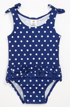 So cute! Polka Dot One Piece Swimsuit for Baby