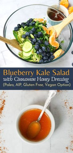 This Blueberry Kale salad is fast, easy, Paleo/AIP, gluten-free, dairy-free, and easily made vegan by swapping out the honey for maple syrup. It's great as a side salad or as a main entree with a little protein thrown in.  #paleosalad #easysalad #aipsalad #aipdinner #autoimmuneprotocol #autoimmunerecipe #vegansalad #glutenfree #dairyfree #fasthealthydinner #aipdressing Paleo Whole 30, Whole 30 Recipes, Blueberry Kale Salad, Chicken Bacon Pasta, Pasta Salad Recipes, Dessert For Dinner, Salad Ingredients, Side Salad, Vegan Options