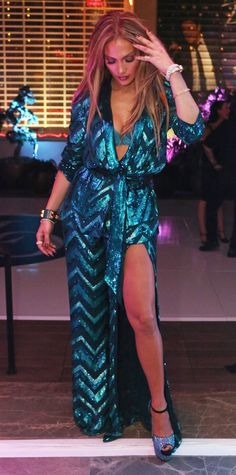 Spotted at her second birthday bash in Las Vegas last night, Jennifer Lopez turned heads in a slinky Zuhair Murad suit | from InStyle.com