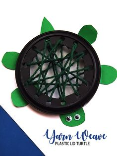 Plastic Lid Yarn Weaving Turtle Lacing Craft Kids Summer Craft