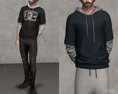 The Sims 4 Layered Sleeve Hoodie by Sims 4 Men Clothing, Sims 4 Male Clothes, Male Clothing, Mods Sims 4, Sims 4 Game Mods, Sims 4 Cas, Sims Cc, Sims 4 Dresses, Sims4 Clothes