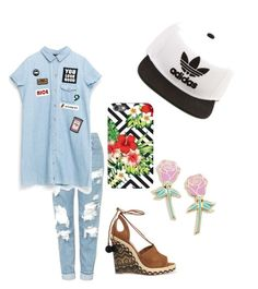 """""""today"""" by julieschipper ❤ liked on Polyvore featuring Topshop, Aquazzura, Big Bud Press and adidas"""