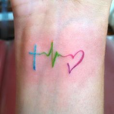 Multicolor Heartbeat // Heartbeat Tattoo Ideas
