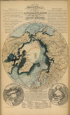 Polar Chart to Illustrate A. Petermann's Papers on the Arctic Regions (1852) by Manitoba Historical Maps