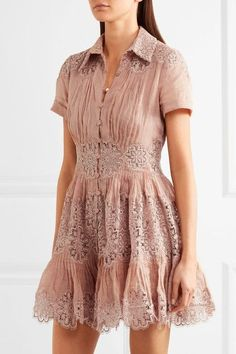 Zimmermann - Winsome Cotton-gauze And Lace Mini Dress - Antique rose - 0