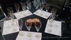 Tasting table ready for Perrier-Jouet Rose Vintage.