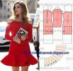 Vestido rojo elegante con jabot
