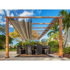 Paragon 11 ft. x 16 ft. Pergola with the Look of Canadian Wood and Sand Canopy