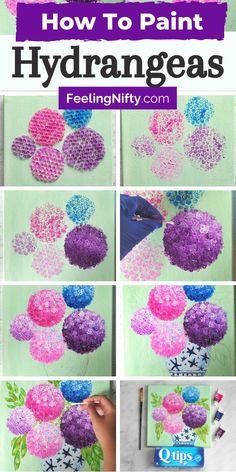 Flowers In Vase Painting, Simple Watercolor Flowers, Hydrangea Painting, Easy Flower Painting, Acrylic Painting Flowers, Acrylic Painting For Beginners, Acrylic Painting Tutorials, Acrylic Painting Canvas, Flower Art