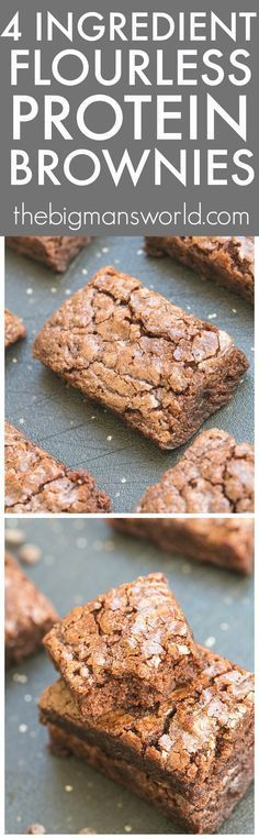 FOUR ingredient Flourless Protein Packed Brownies recipe- NO butter, oil or…