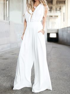 63dfd68234f White Plunge Neck Ruched Bust Backless Palazzo Jumpsuit Backless Jumpsuit