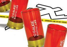 Shotgun Shell Shot Glasses  Man up and take shots like they should be with the Shotgun Shell Shot Glasses! These unique shot glasses look just like empty shotgun shells! Comes with four impact-proof plastic red shot glasses with metal bases, each measuring in at 4 x 4 x 7.5 cm. Designed not to break when you (inevitably) drop it. Great for gun lovers or anyone looking to make their next party a blast!