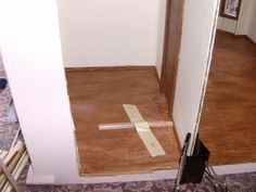 keeping baseboards tight while gluing. More Minis @ Blogspot: Dollhouse Flooring Guide