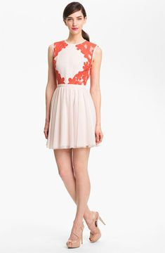 Ted Baker London Mixed Media Fit & Flare Dress