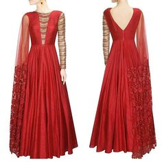 #bridestobe wear this gorgeous contemporary gown-like red Anarkali and stun at…