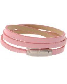 "Leren wikkelarmband ""roze"" 5,75 euro www.witenfrizz.nl"