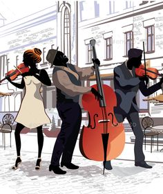 Musicians  (CS3, architecture, building, cafe, city, coffee, contour, couple, design, europe, fashion, guitarist, illustration, italy, london, man, musician, outdoors, outside, paris, people, restaurant, scene, silhouette, sketch, street, town, travel, vector, woman)