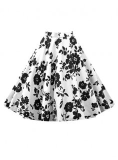 Fvogue Multicolor Flower Printed A Line Expansion Skirt
