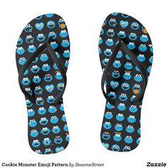 a6ea13dee04a Cookie Monster Emoji Pattern Flip Flops