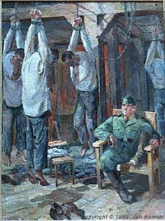 Auschwitz.   When something unauthorized was found on a prisoner, like an extra piece of bread, he was subjected to this punishment. The artist who painted this picture, survivor Jan Komski himself hung like this an hour a day for three consecutive days because he brought food and medicine back to the camp after a day at work.