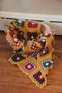 Vintage Mustard Yellow Square Granny Crochet Blanket by bungalov