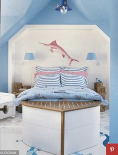 "But I'd do this boat bed for our boy :-) ""girl's nautical room with boat shaped bed"""