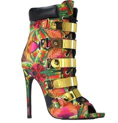 """These Booties are definitely """"ON FLEEK"""". Multi-Colored emboss lace-up Bootie with side zipper closure. Features 5 real metal shield ornaments, gold eyelets, and metal lace tips. Available in Red, Ivory and Multi Print 