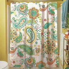 Aqua Bloom Paisley Shower Curtain
