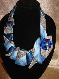 Recycled Necktie Upscale Neckties Re-purposed  Blue Shades with Handmade Brooch Adornments