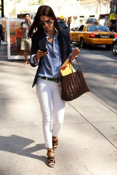 casual. white jeans. navy jacket.