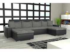 Rohová sedačka YORK U, šedá látka/černá ekokůže Rozkládací rohová sedačka YORK U Sedačka je univerzální = roh lze smontovat na pravý i levý. Obrázek rozložené sedačky je jen ilustrativní (jiná barva a typ sedačky)! Potahová … Outdoor Sectional, Sectional Sofa, Couch, Outdoor Furniture, Outdoor Decor, Home Decor, Modular Couch, Settee, Decoration Home