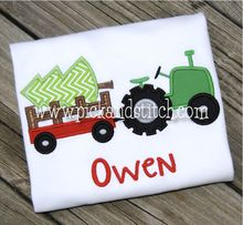 Christmas Tree Tractor Applique Design Want
